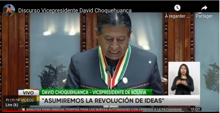 Photo discours dinvestiture Bolivie